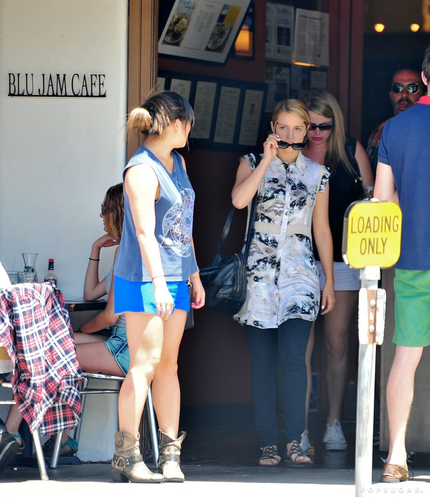 Dianna Agron and Jenna Ushkowitz left the Blu Jam Cafe in LA.
