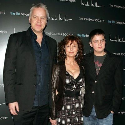 Susan Sarandon, Tim Robbins with son Miles Robbins in NYC
