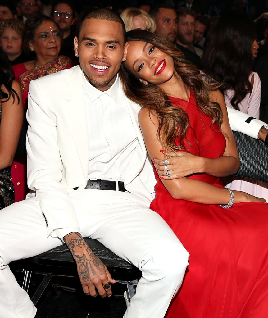 Rihanna and Chris Brown Cuddle Up in the Grammys Front Row
