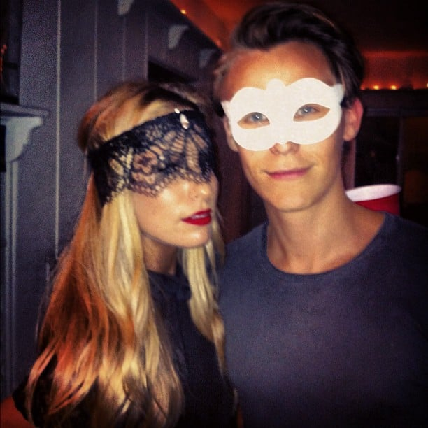 Renee Bargh puckered up with a friend — loving the red lip! Source: Instagram user reneebargh