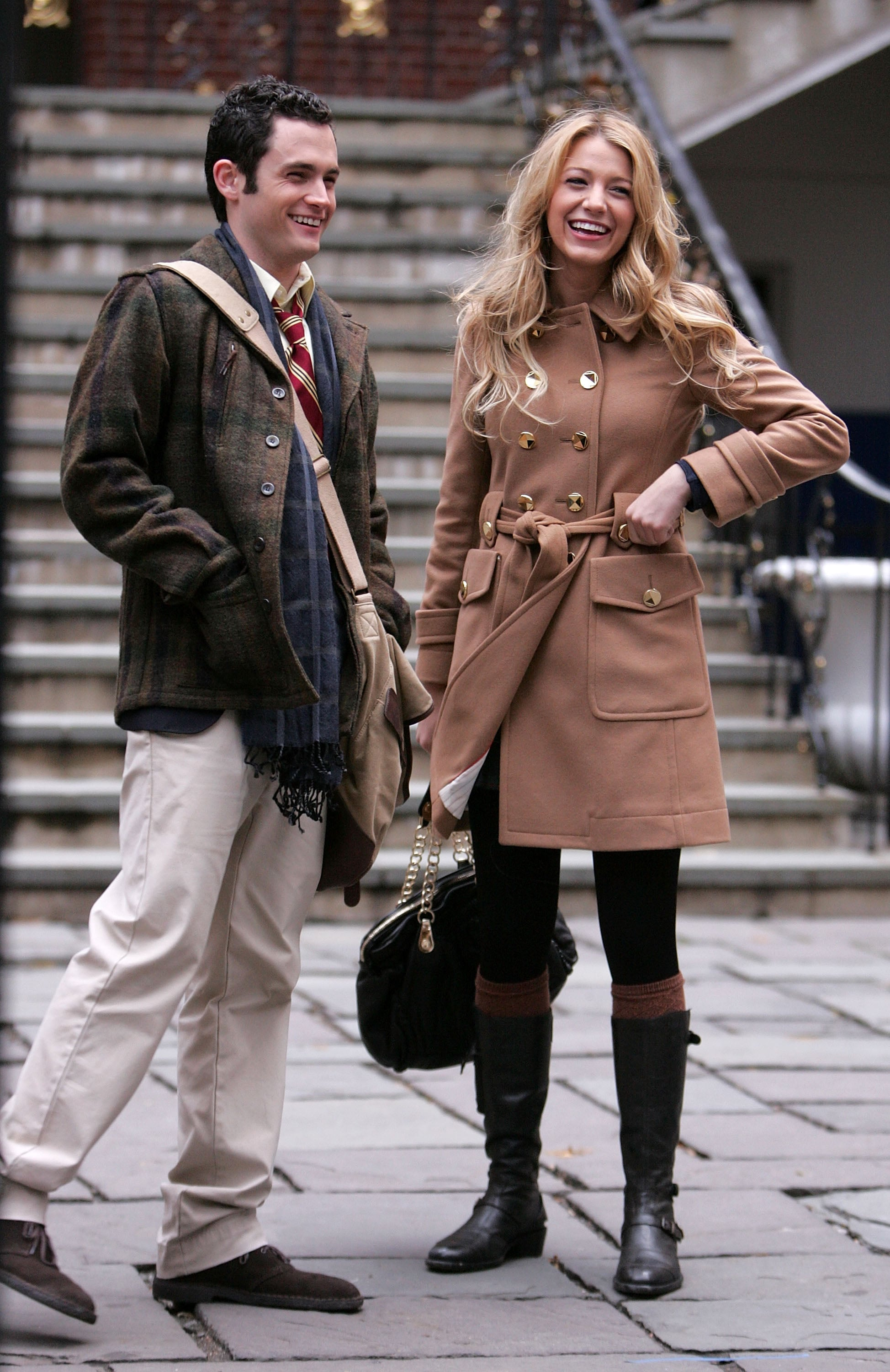 Penn Badgley and Leighton Meester were spotted cracking up on the set in November 2007.