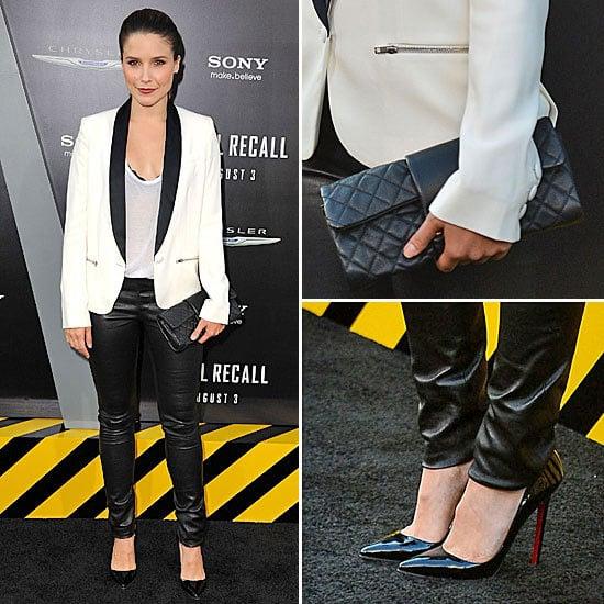 Steal Sophia Bush's Slick Menswear Inspired Look from the LA Total Recall Premiere via Shopstyle Australia