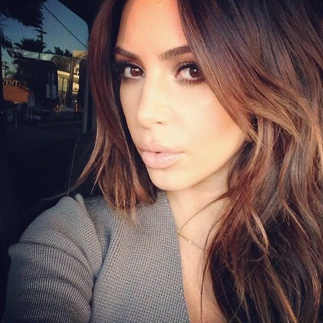 Kim Kardashian showed the world that, yes, her brunette hair is back — at least for now. Source: Instagram user kimkardashian