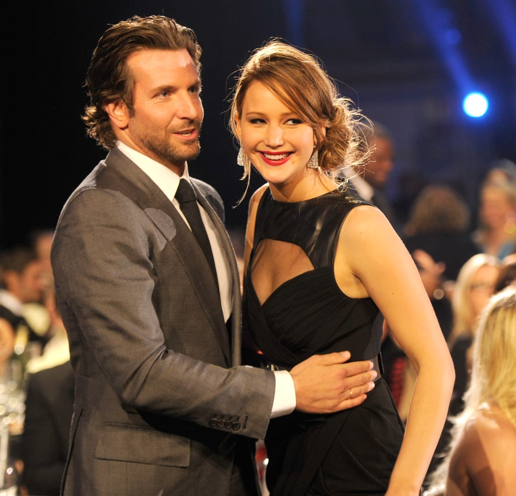 Bradley Cooper hugged his Silver Linings Playbook costar Jennifer Lawrence at the Critics' Choice Awards.