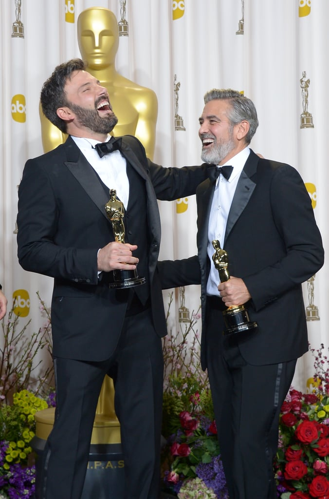 Ben Affleck and George Clooney laughed it up in the Oscars press room following their Argo best picture win.