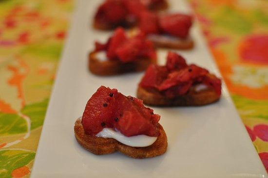 Crostini With Cranberry, Pear, and Orange Mostarda