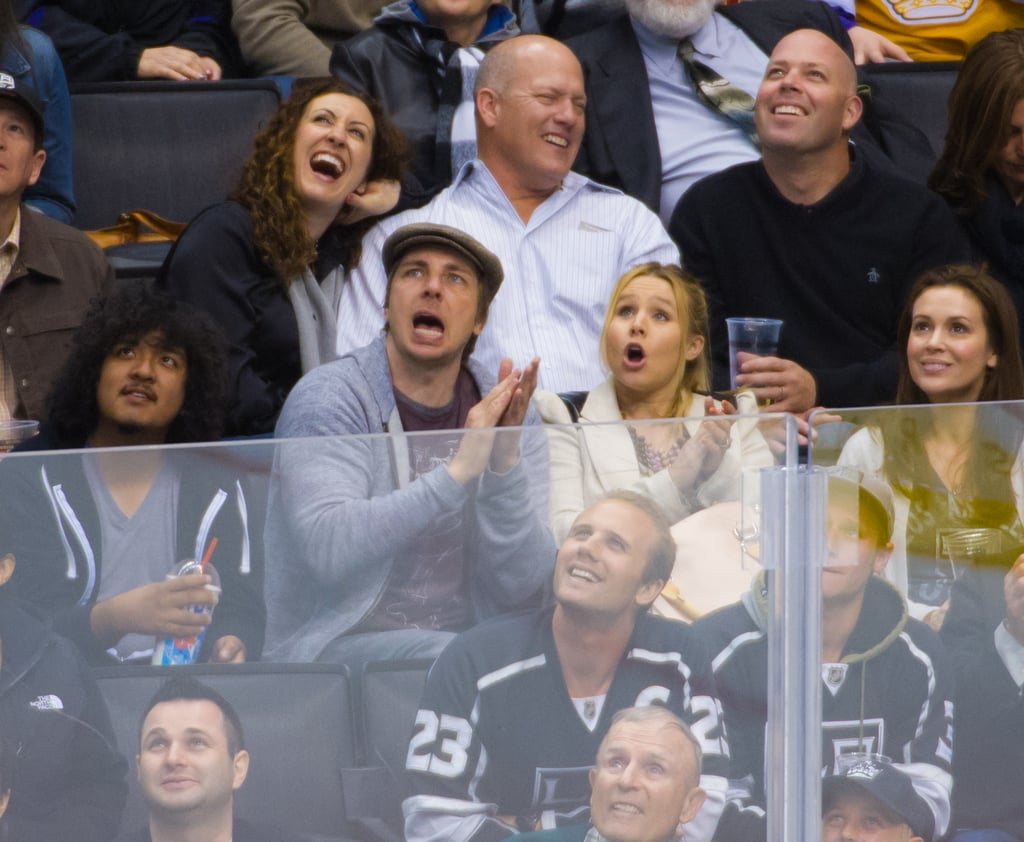 Dax Shepard and Kristen Bell reacted to the hockey game while sitting next to Alyssa Milano.