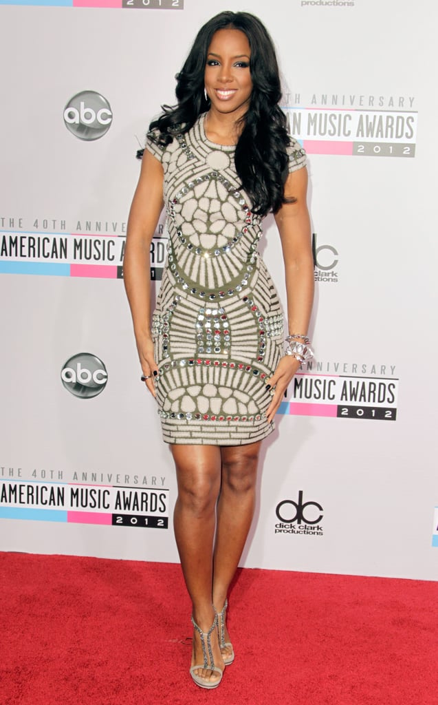 Look closely. Those printed details on Kelly Rowland's dress are also adorned with silver jewels.