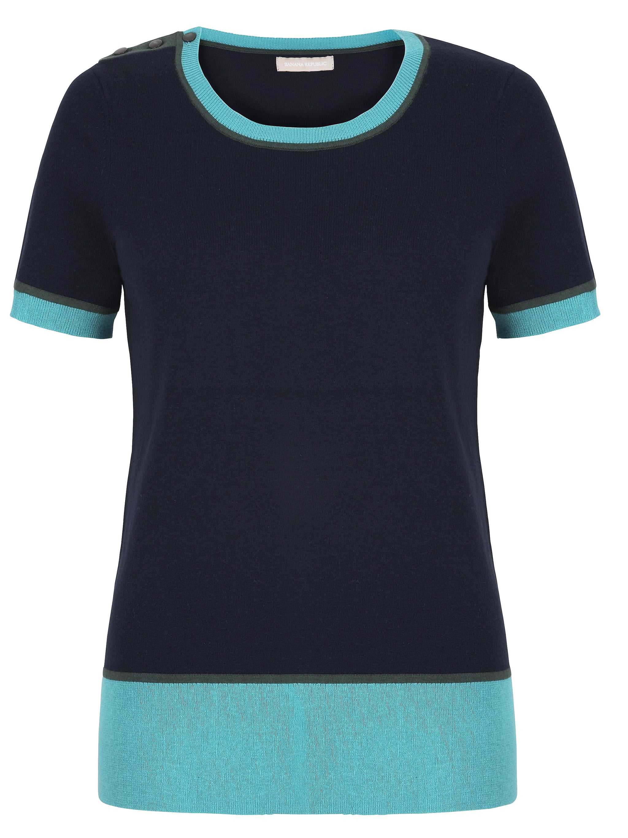 Searching for a sophisticated top to go with jeans? Try this colorblock short-sleeved look ($70) from the collaboration.  Photo courtesy of Banana Republic