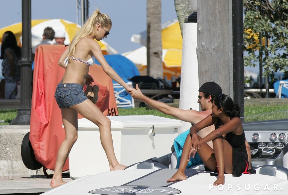 Anna Kournikova wore a bikini top and short shorts to hop on a boat in Miami in June 2007.