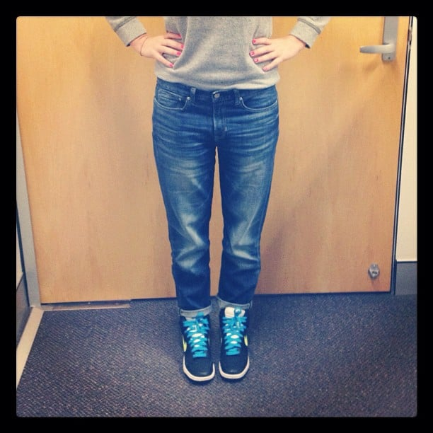 Casual Friday for Alison! She wears Gap jeans and her much-loved Nike sneakers.