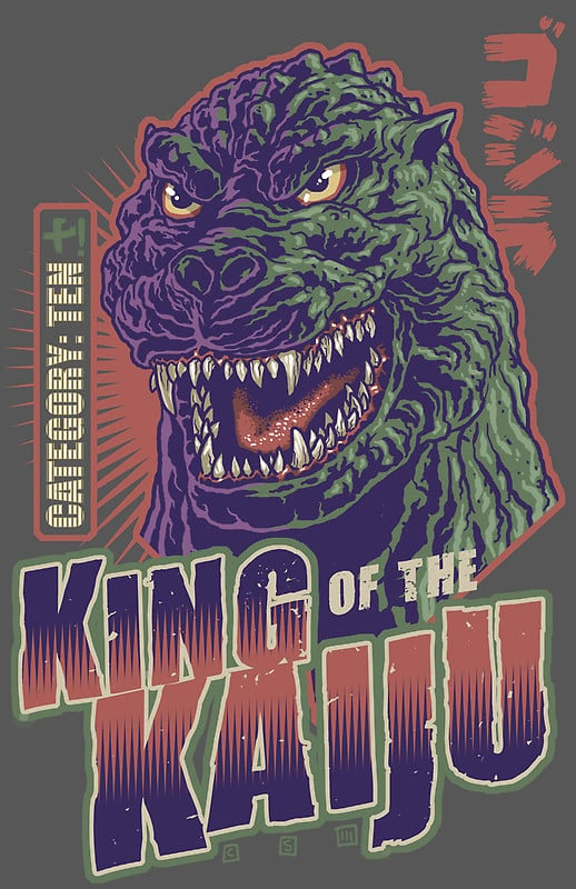 King of the Kaiju by cs3ink ($28-$75 for various sizes) turns the lizard of the sea into a playing card, categorizing the monster as a deadly 10!