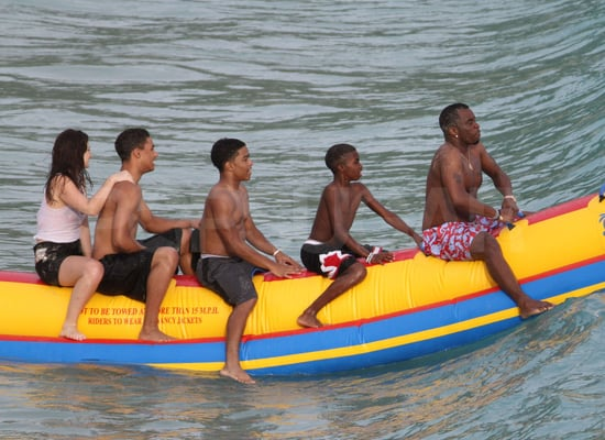Shirtless Diddy on a Banana Boat in St. Barts