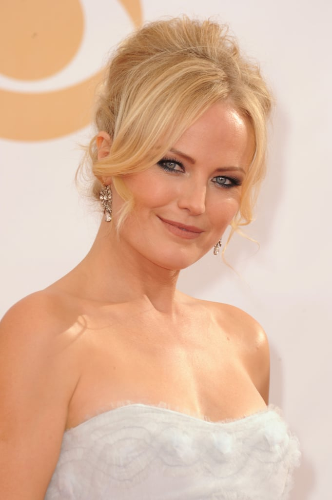 Malin Akerman tempered her thick black eyeliner with dabs of silver shadow, and her middle-parted fringe framed her face just so.