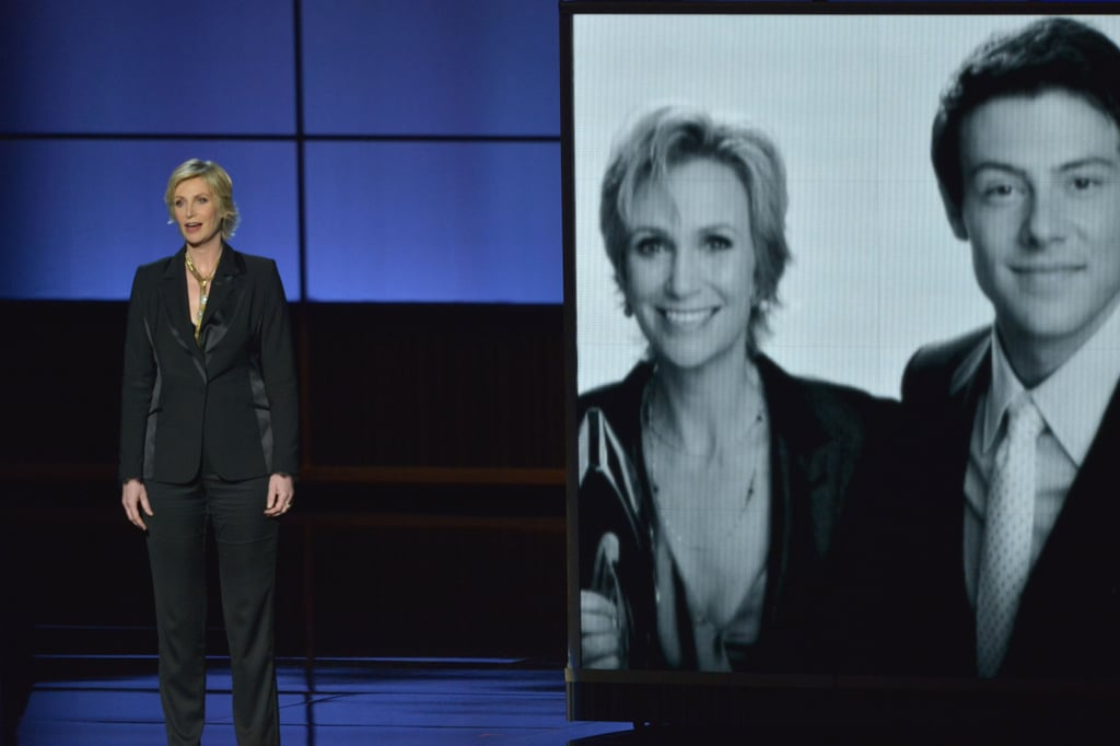 Jane Lynch gave a touching tribute to Glee's Cory Monteith.
