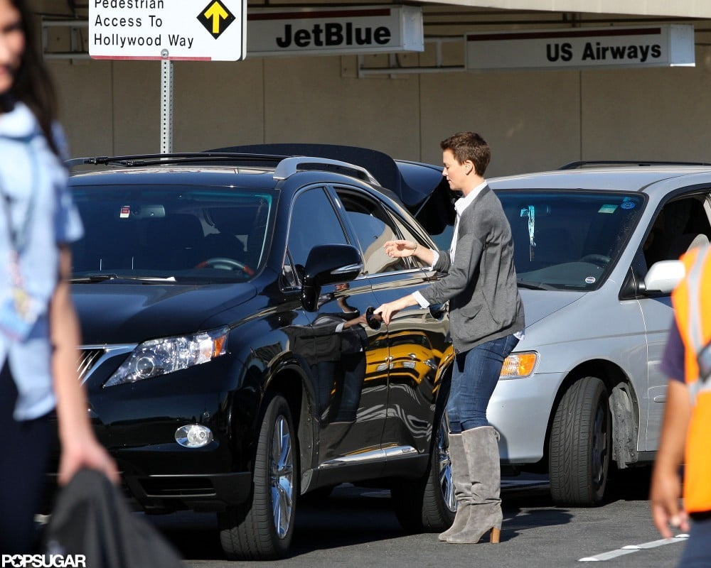 Charlize Theron dropped a friend off at the Burbank Airport.