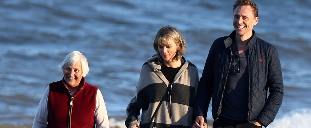 Taylor Swift and Tom Hiddleston Take More Romantic Walks on the Beach, This Time With Tom's Mom