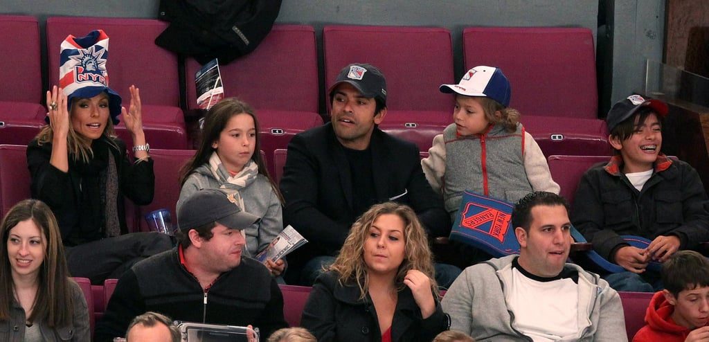 Mark Consuelos and Kelly Ripa enjoyed a Rangers game at Madison Square Garden with kids Lola, Joaquin, and Michael in October 2009.