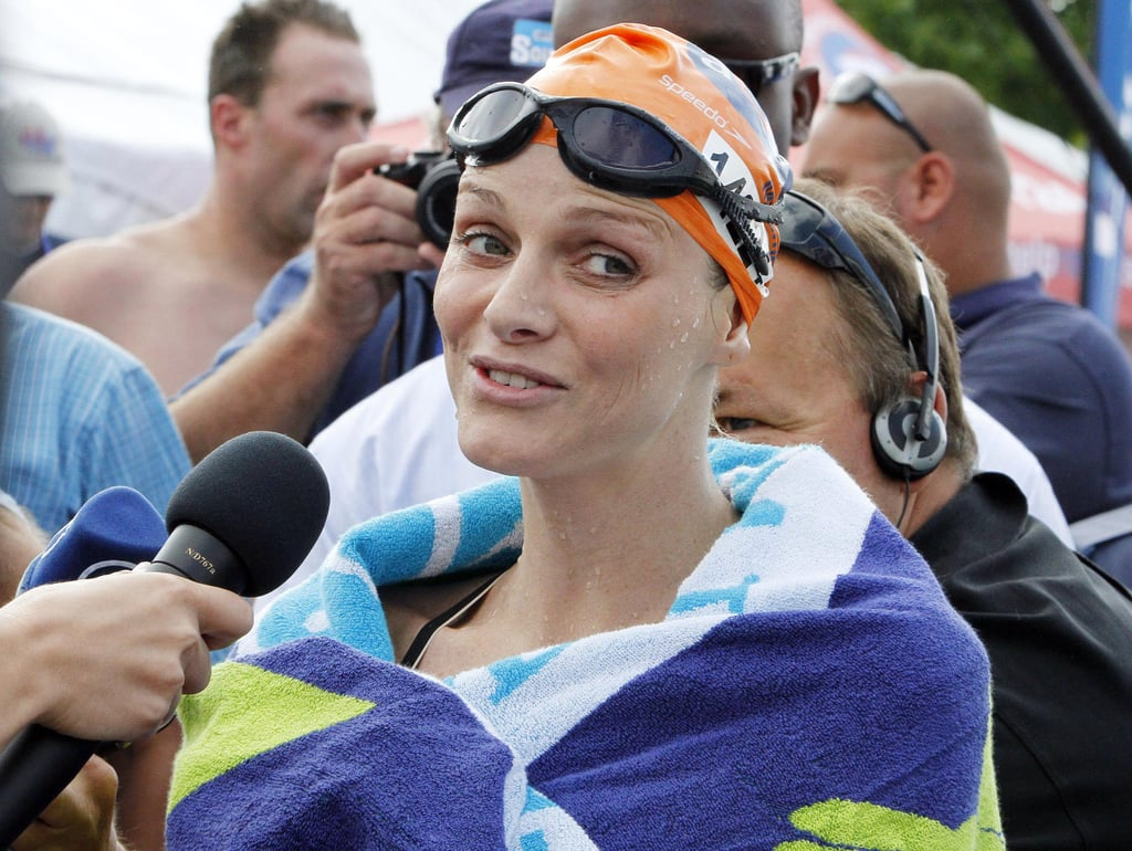 Princess Charlene was interviewed after a swim in Pietermaritzburg, South Africa. Source: Getty / Anesh Debiky/Gallo Images