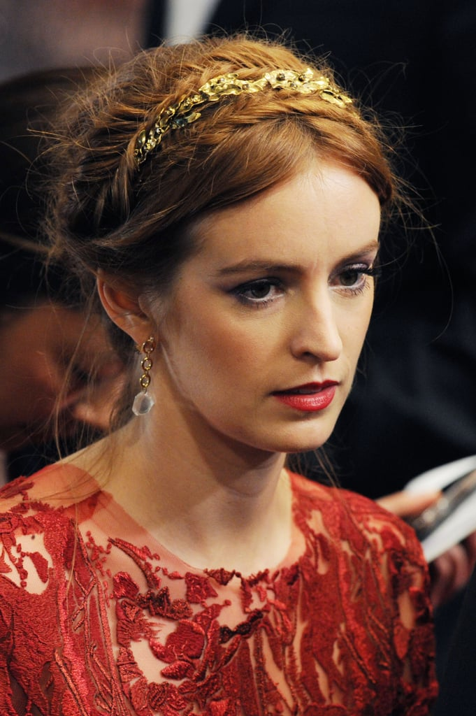At the As I Lay Dying premiere, Ahna O'Reilly embellished her braided hairdo with a golden headband.