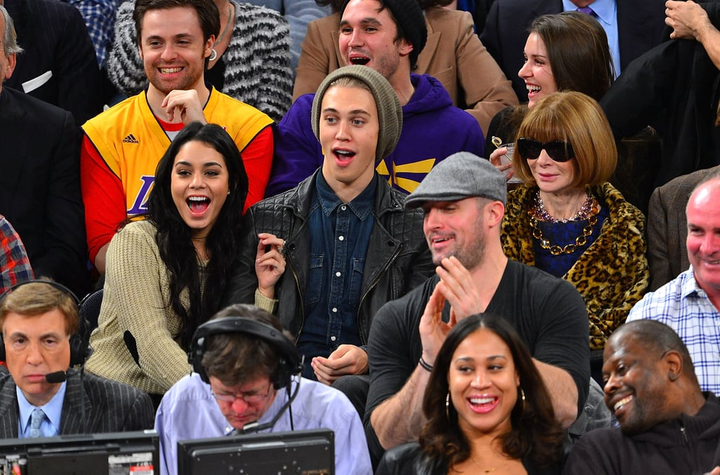 Vanessa Hudgens and Austin Butler were seated near Anna Wintour during a game at Madison Square Garden in December 2012.