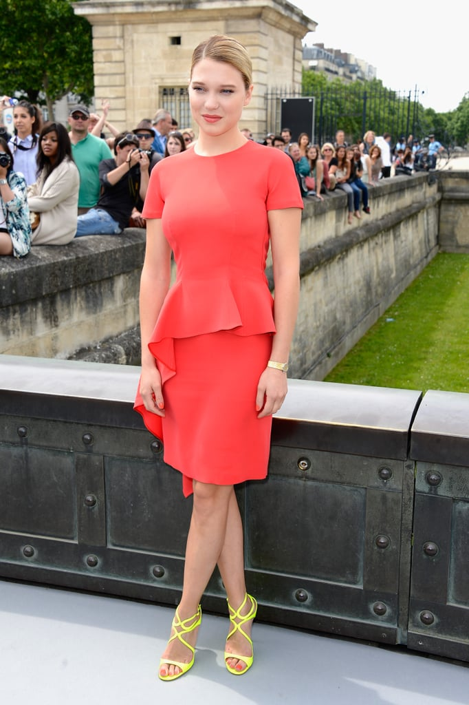 Léa Seydoux wore brights to the Christian Dior show on Monday.