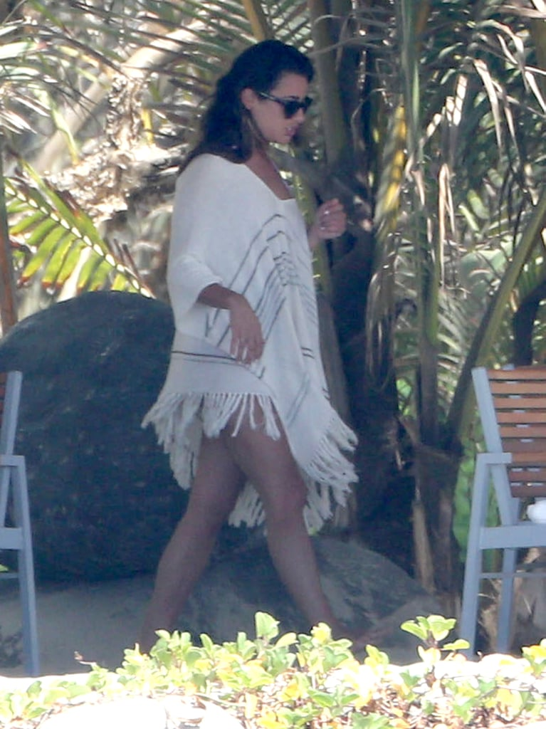 Lea Michele wore a white cover-up in Mexico.