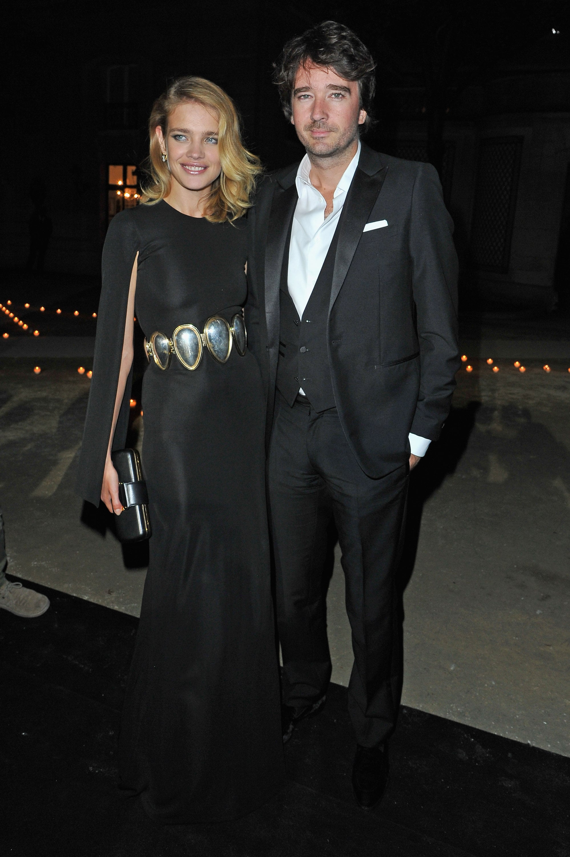 Natalia Vodianova punched up her black gown with a bold silver waist belt at the Carine Roitfeld for MAC party.