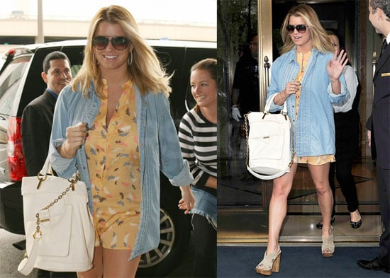 Pictures of Jessica Simpson Wearing a Short Dress and Chambray Shirt in NYC