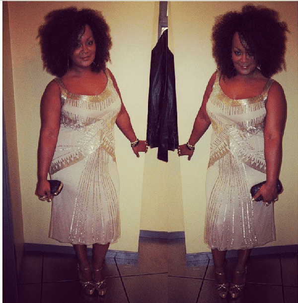 This dress was made for dancing — and showing off her curves.  Source: Instagram user mariedenee