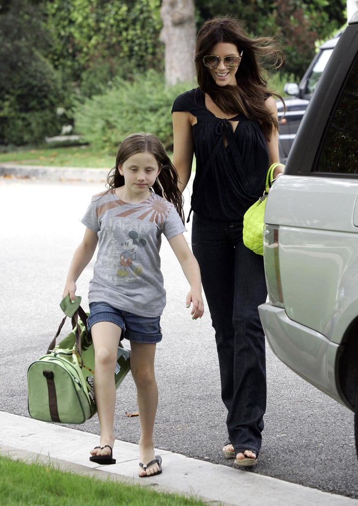 Like mother like daughter. For a September 2008 Brentwood outing, Kate and Lily worked denim staples and green handbags — Kate's by Marc Jacobs.