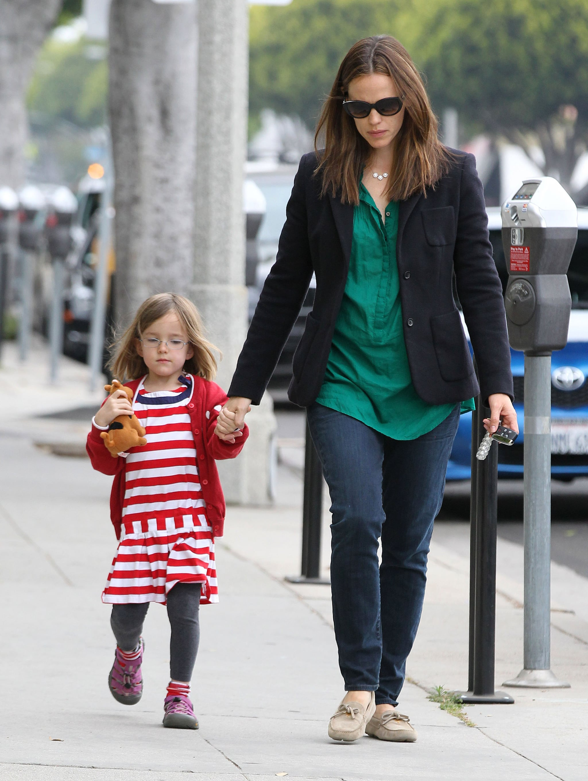 Jennifer Garner held her daughter Seraphina Affleck's hand in LA.