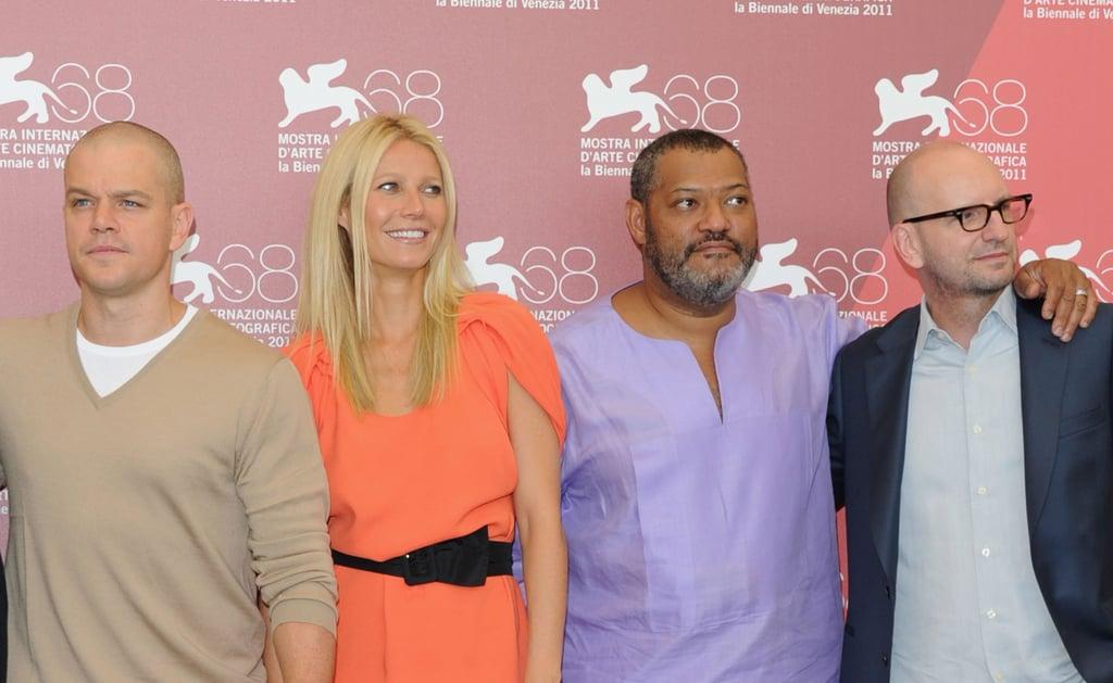 Gwyneth Paltrow, Matt Damon, Lauren Fishburne, Steven Soderbergh in Venice.