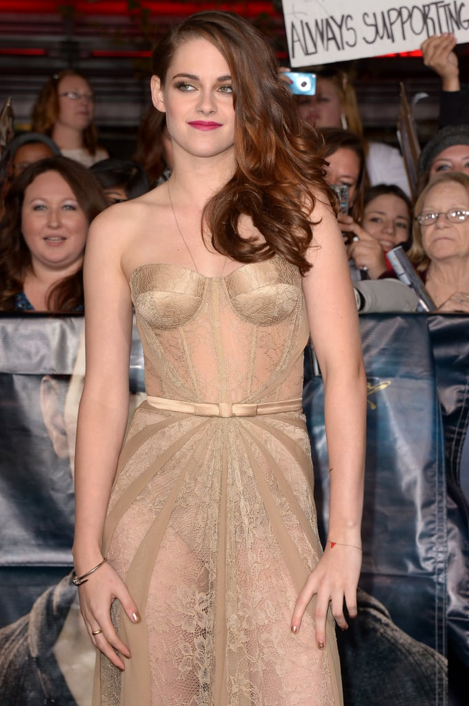 She posed in her lacy nude Zuhair Murad number for Breaking Dawn Part 2 fans.