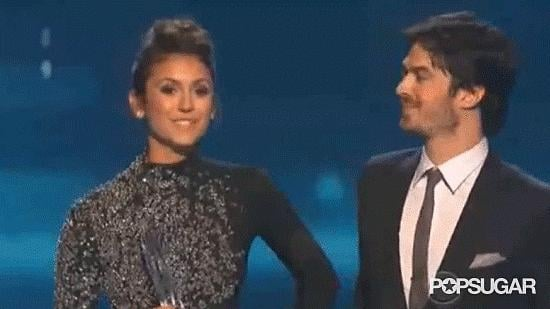 We all swooned when Ian Somerhalder kissed Nina Dobrev on the cheek when they accepted their People's Choice Award.
