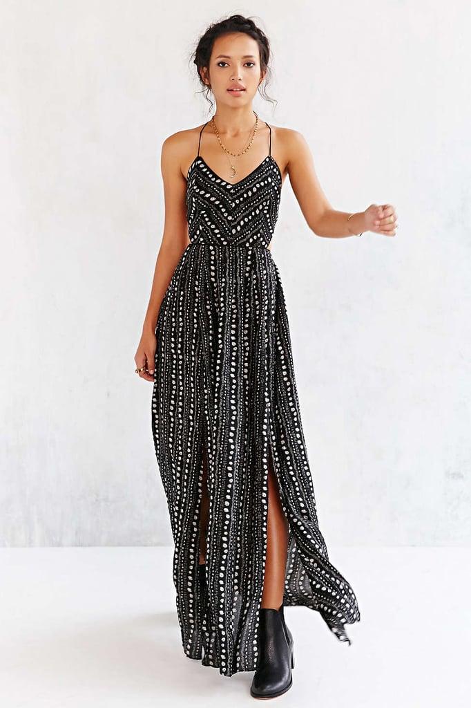 Ecote strappy black safari maxi dress ($98)