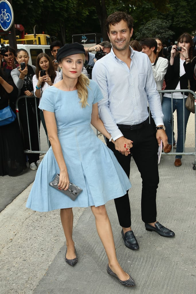 Joshua Jackson and Diane Kruger arrived at the Chanel show in Paris holding hands.