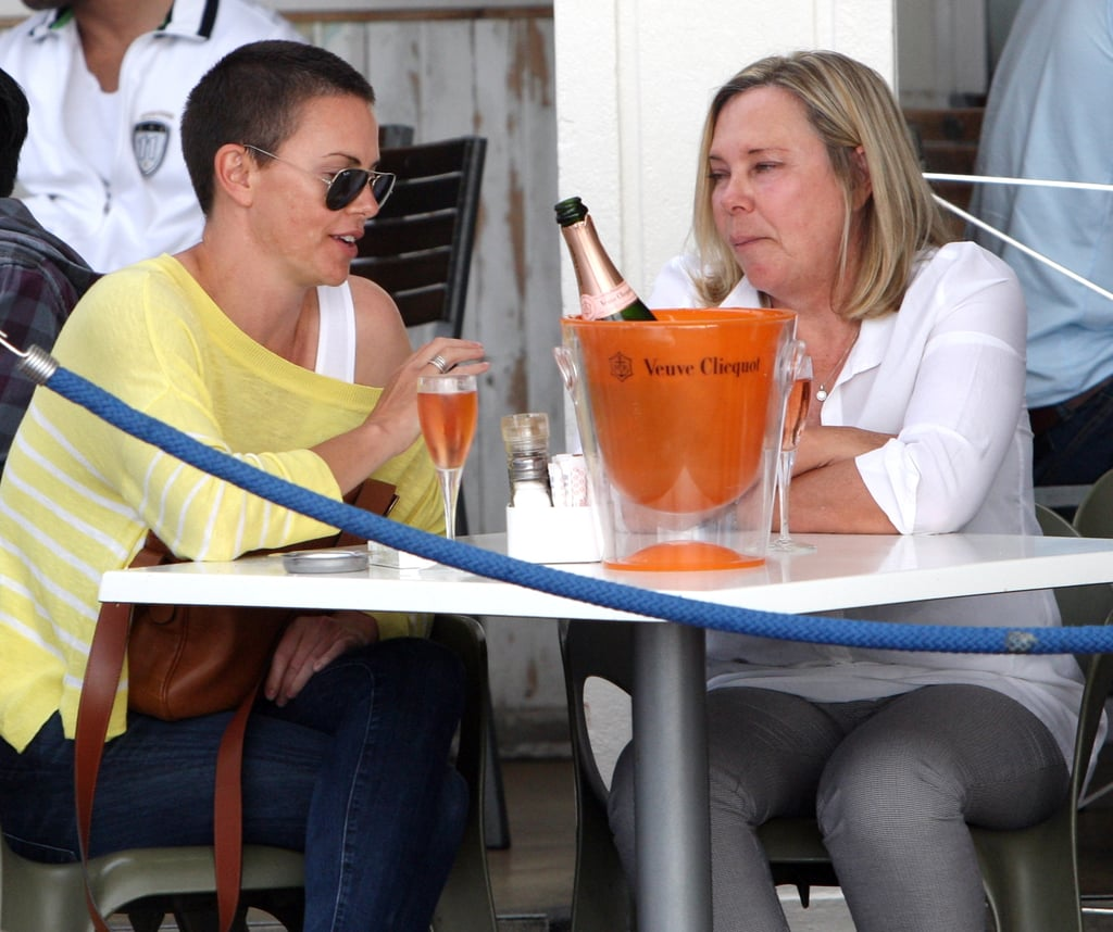 Charlize Theron and her mom, Gerda, enjoyed a bottle of Champagne.