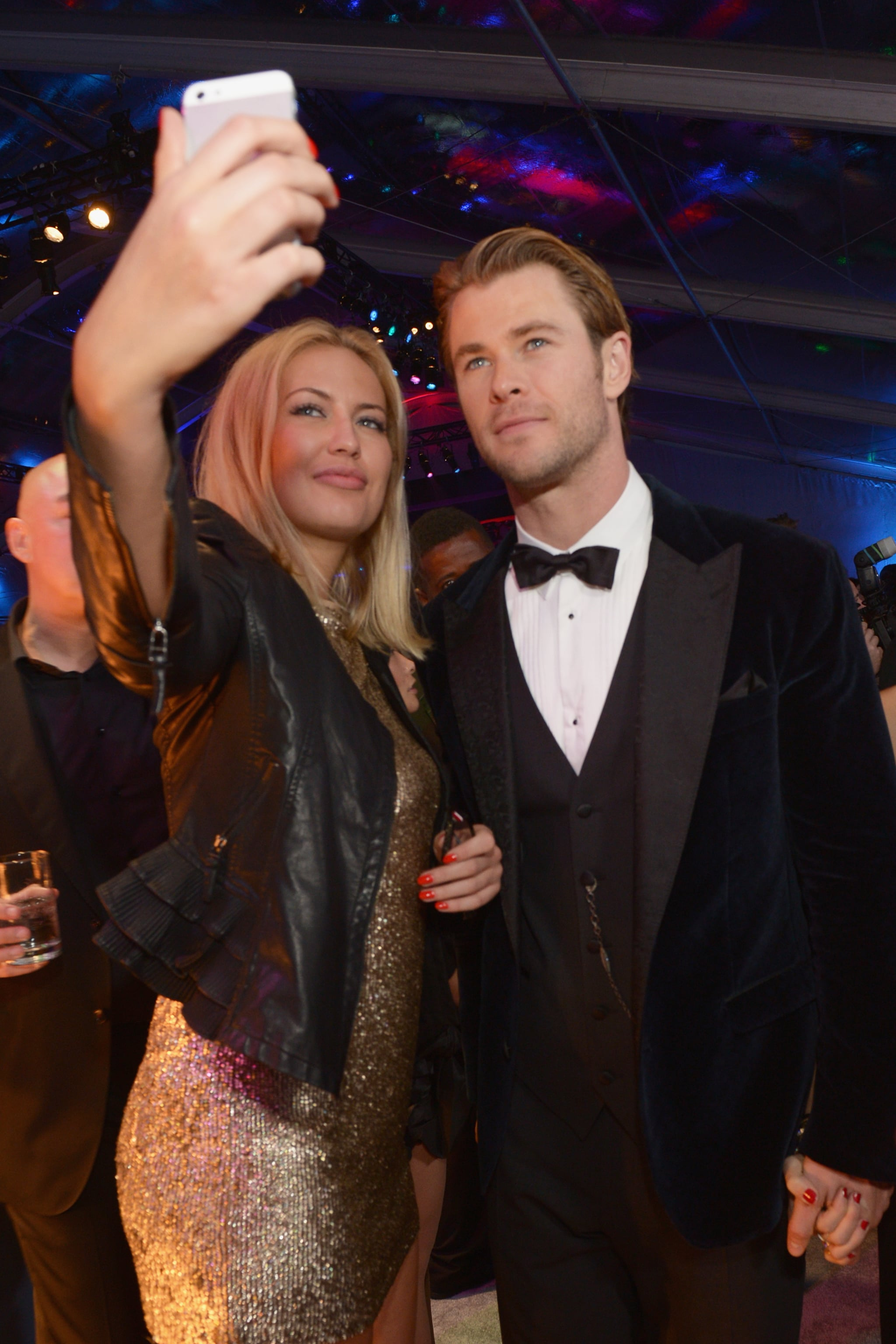 Chris Hemsworth was game for a fan selfie at the NBC afterparty.