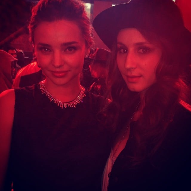 "At Paris Fashion Week, Pretty Little Liars' Troian Bellisario sat with Miranda Kerr, thanking her for ""sharing the bench.""Source: Instagram user sleepinthegardn"
