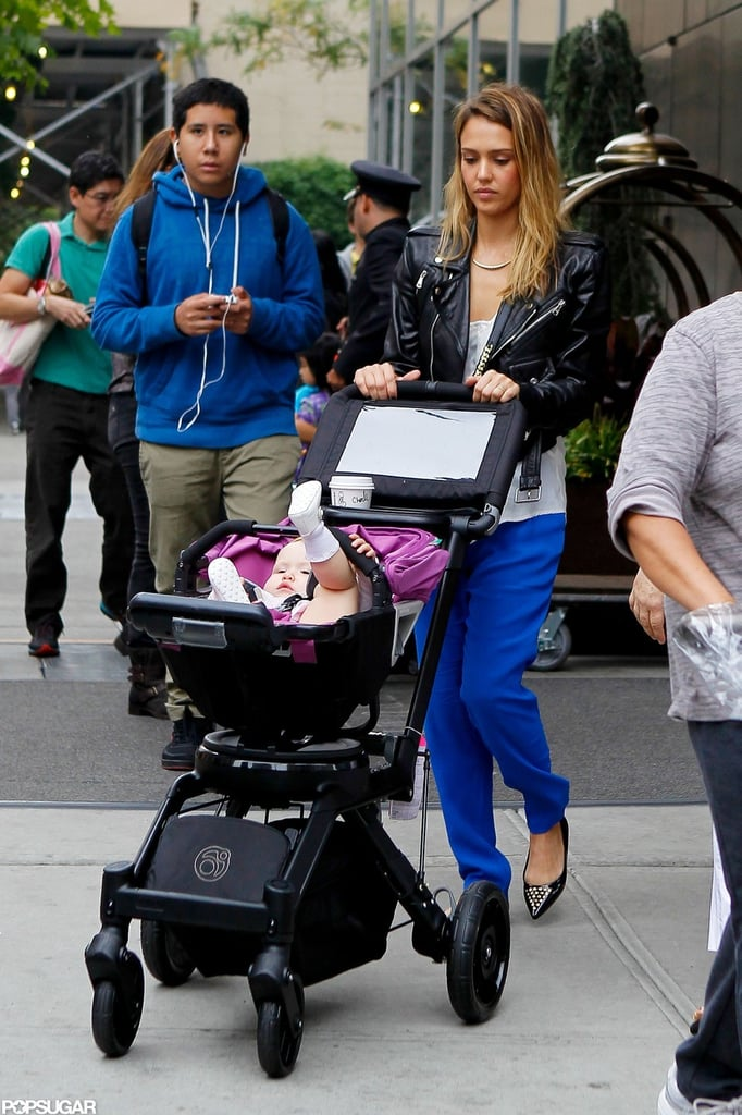 Jessica Alba stepped out with Haven Warren in a stroller.