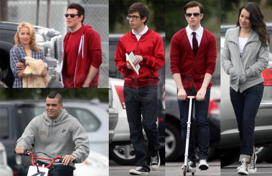Photos of Lea Michele, Dianna Agron, Corey Monteith, Chris Colfer, Kevin McHale, And Mark Salling Filming Glee in LA
