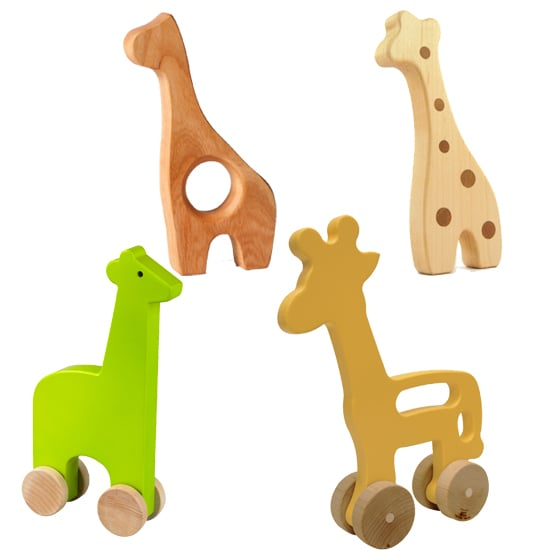 Giraffes are a big theme in Brooks's nursery, with a giant giraffe from Anthropologie serving as a centerpiece. DwellStudio's push toy giraffe ($24) rests on Brooks's changing table, but we found several other giraffes that would make a great addition to any tot's room, including, Little Alouette's wooden giraffe teether ($14), US Woodtoy's giraffe rollimal wood toy ($15), and Pottery Barn Kids' wood push toys ($39).