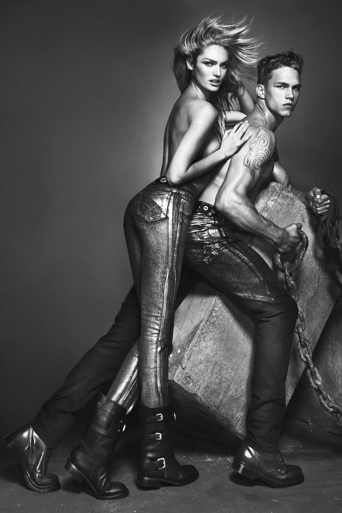 Talk about a little denim on denim — Candice Swanepoel gives Versace Jeans' campaign a sexy edge.