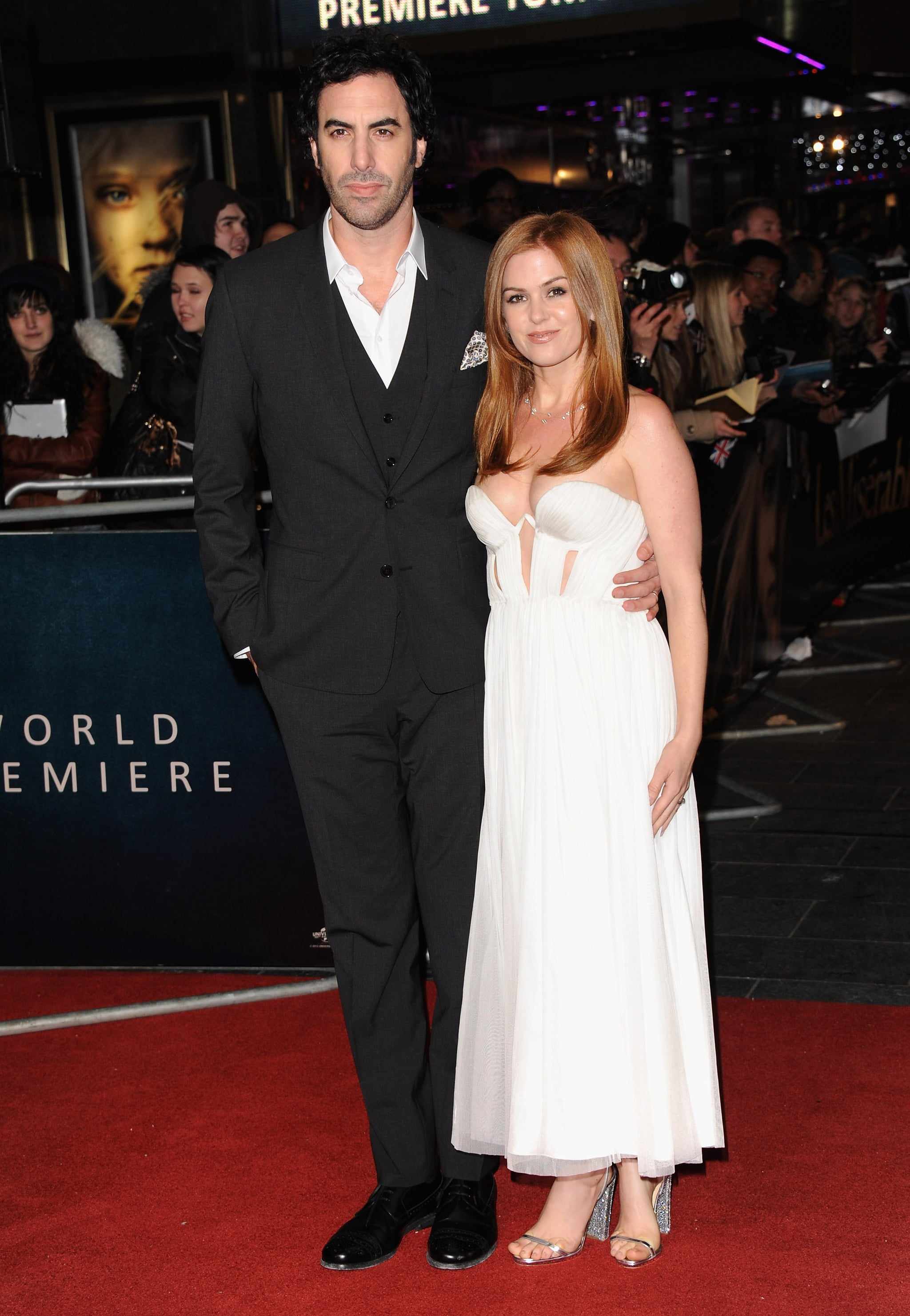 Isla Fisher and husband, Sasha Baron Cohen stepped out in London for the Les Miserables.