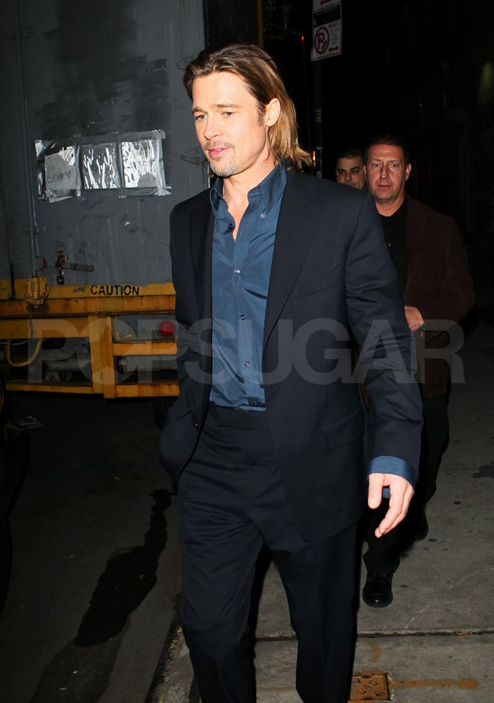 Brad Pitt was suited up for a TV interview in NYC.