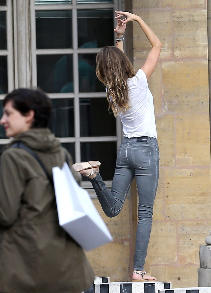 Gisele Dances and Snaps Pictures in Paris With Vivian