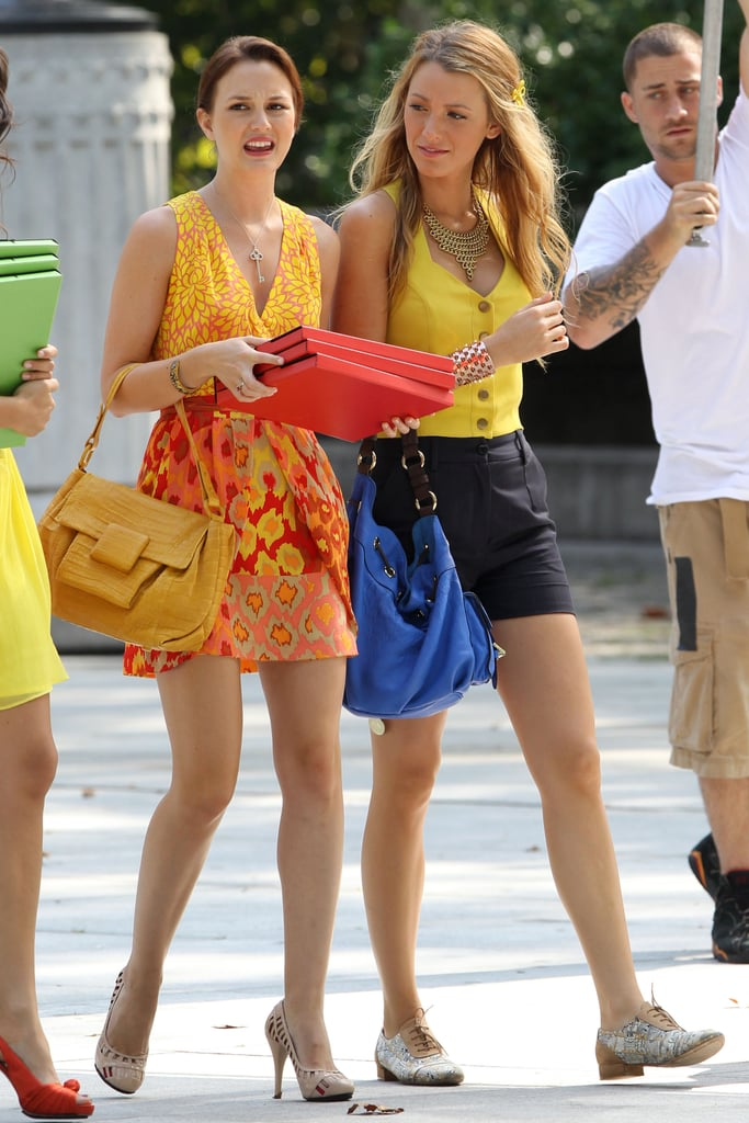 Blake Lively and Leighton Meester on Gossip Girl Set