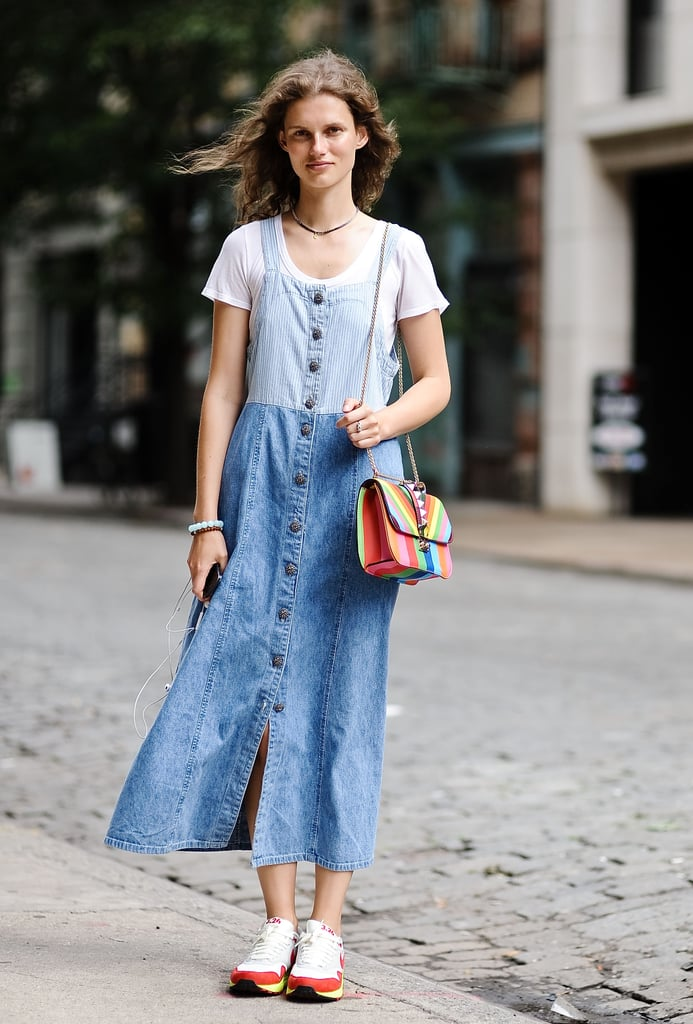 Wearing head-to-toe denim looks extra cool when paired with colorful accessories.