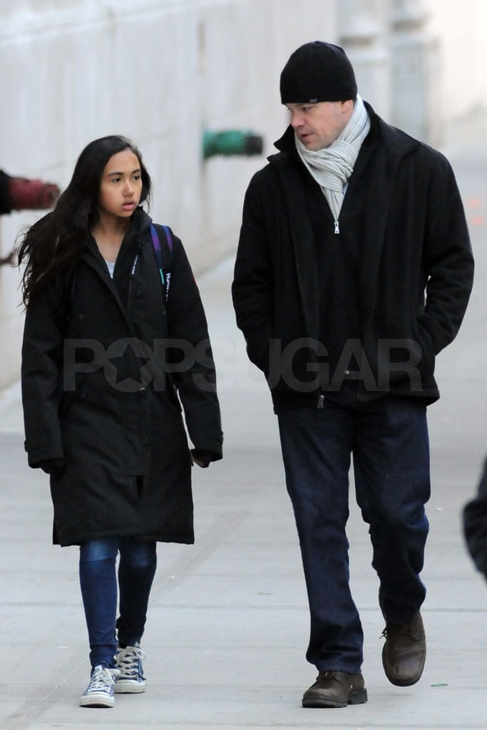 Matt Damon walking with his stepdaughter Alexia Barroso in NYC.
